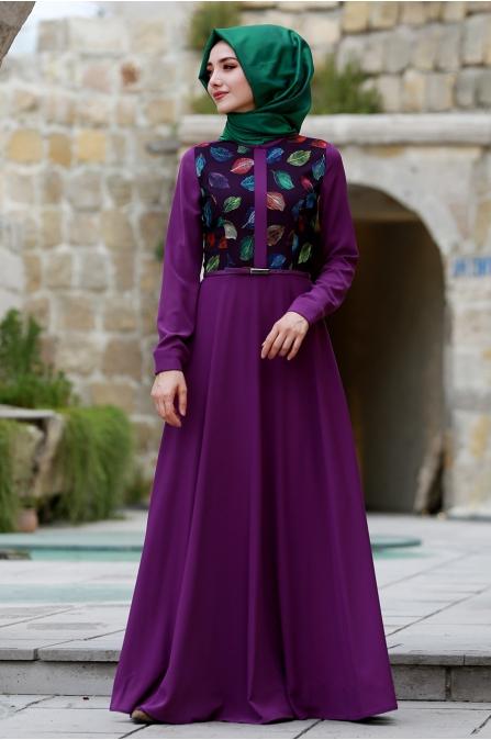 Yaprak Desenli Elbise - Mor - Gamze Özkul