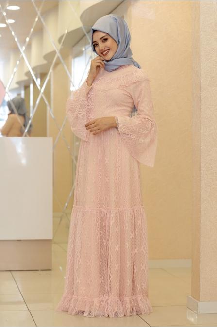 Yasmin Dantel Elbise  - Pudra - Gamze Özkul