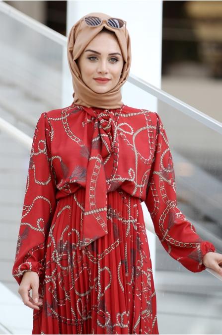 Zincir Desen Elbise - Kırmızı - Gamze Özkul