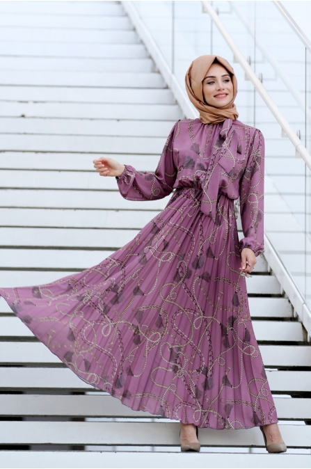 Zincir Desen Elbise - Lila - Gamze Özkul