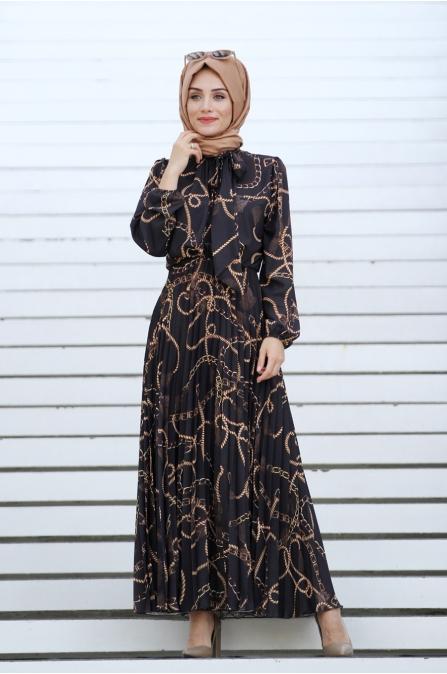 Zincir Desen Elbise - Siyah - Gamze Özkul