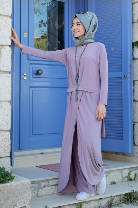 Dina Pantolon Tunik Takım - Lila - Gamze Özkul
