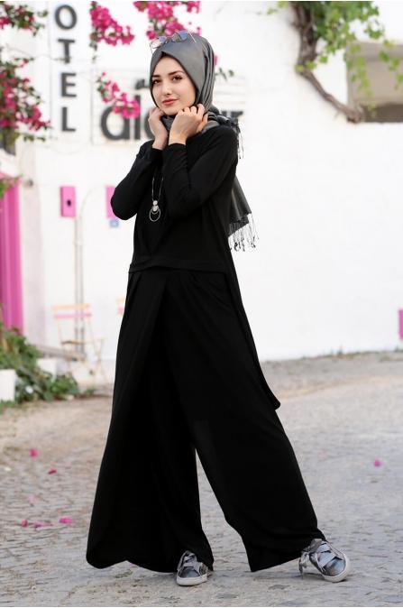 Dina Pantolon Tunik Takım - Siyah - Gamze Özkul