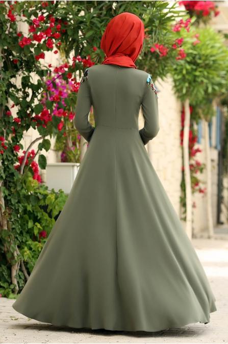 Çağla Elbise Haki - Gizem Kış
