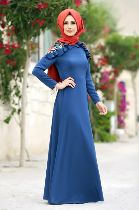 Çağla Elbise Mavi - Gizem Kış