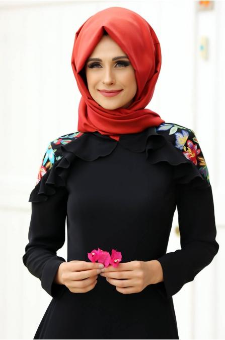 Çağla Elbise Siyah - Gizem Kış