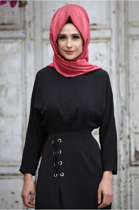 KuşGözü Elbise Siyah - Gizem Kış