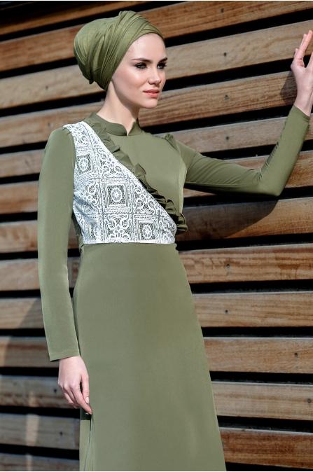 Gizem Kış - Miray Elbise - Haki