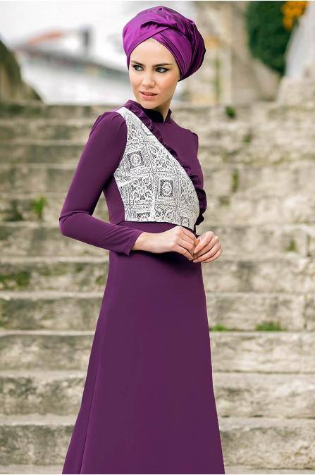 Gizem Kış - Miray Elbise - Mürdüm
