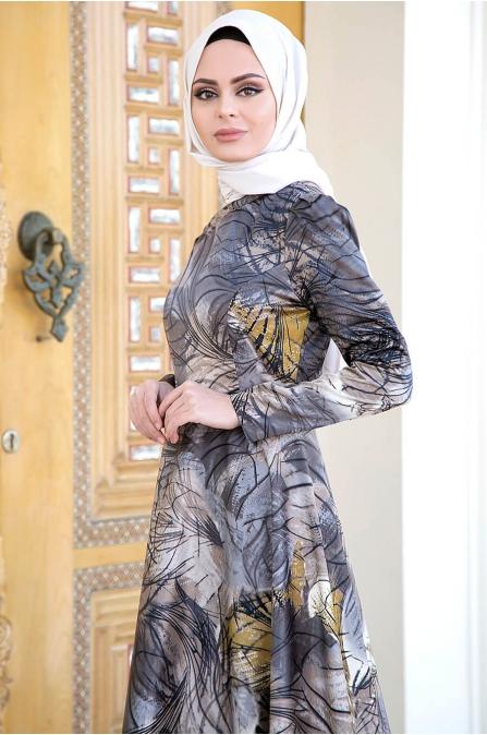 Gizem Kış - Nehir Tesettür Elbise