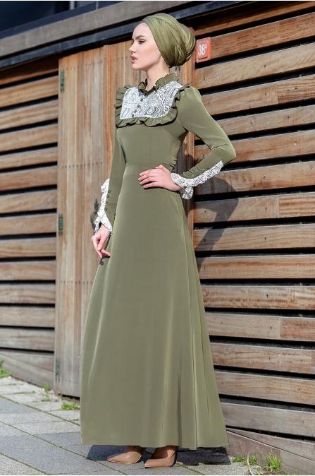 Gizem Kış - Derin Elbise - Haki