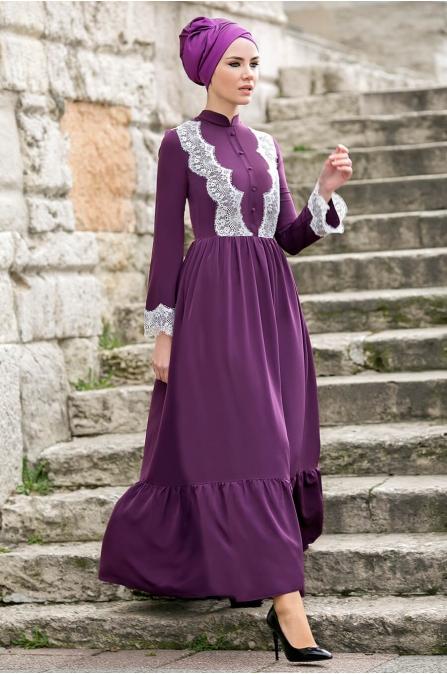 Gizem Kış - Eslem Elbise - Mor