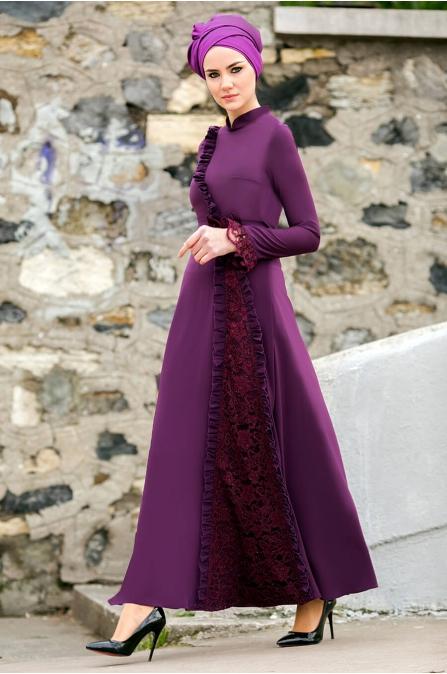Gizem Kış - Erva Elbise - Mürdüm