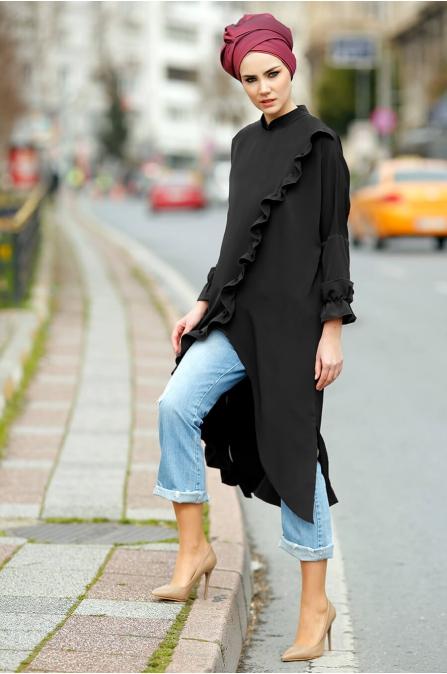 Kamelya Tunik Siyah - Gizem Kış