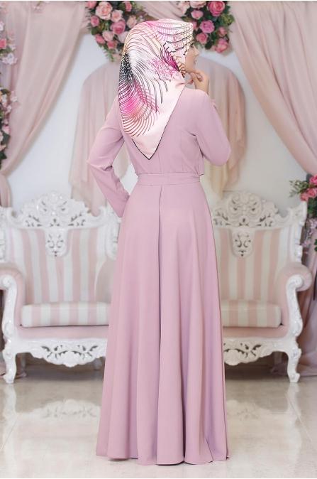 Duru Tesettür Elbise - Pudra - Hazem
