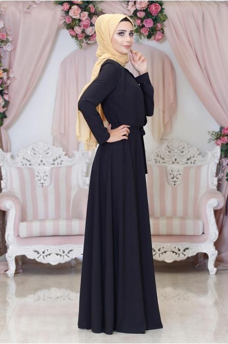 Duru Tesettür Elbise - Siyah - Hazem