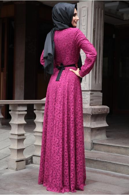 Hazem - Gül Elbise - Fuşya
