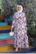 Çiçekli Tesettür Elbise - Renkli