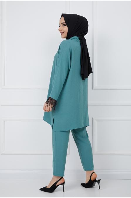 Asu Tesettür Tunik Pantolon İkili Takım - Yeşil