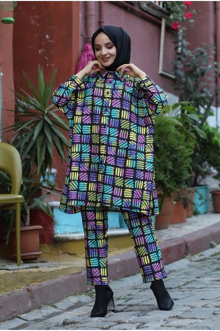 İzel Pantolon Tunik Takım - Renkli