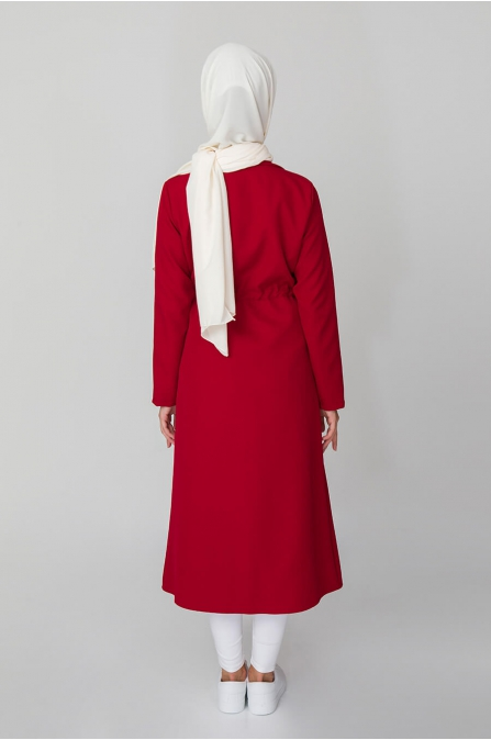 Cep Detaylı Trençkot - Kırmızı