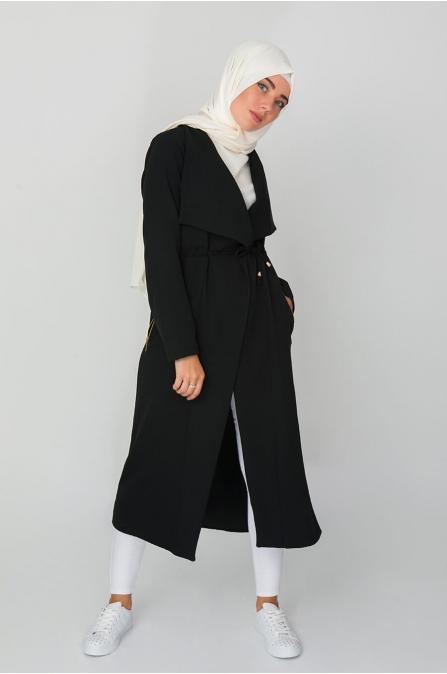 Cep Detaylı Trençkot - Siyah
