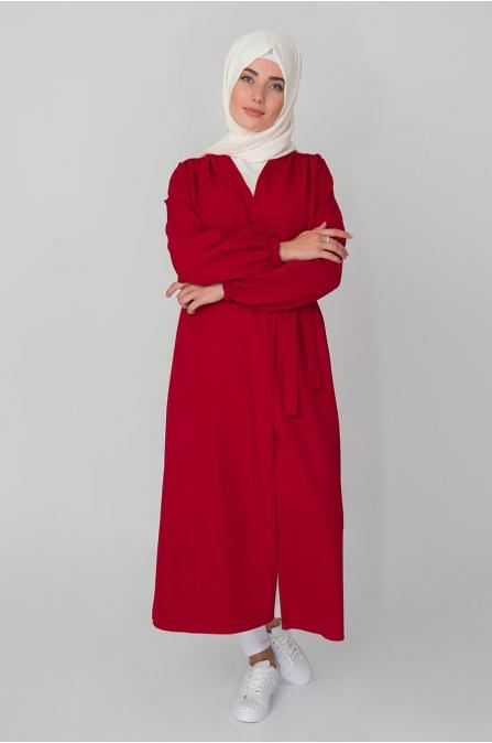 Büzgülü Trençkot - Kırmızı