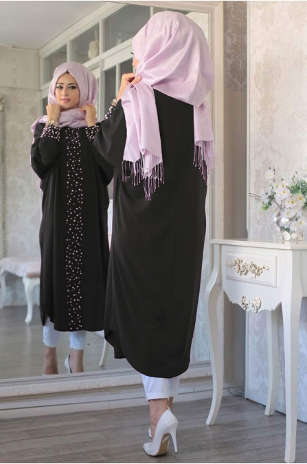 Lefzen - İncili Tunik - Siyah