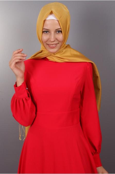 Kırmızı Tesettür Elbise