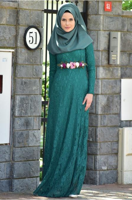 Dantelli Yeşil Abiye - Medine