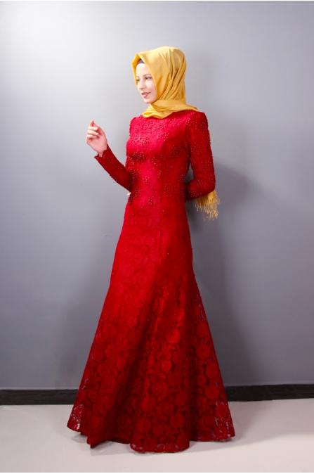 Boncuk İşlemeli Dantelli Abiye - Kırmızı