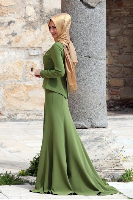 Ceketli Abiye - Fıstık Yeşil - Medine