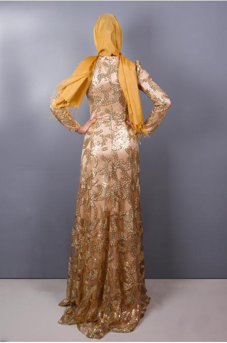 Hayal Tesettür Abiye - Gold - Medine