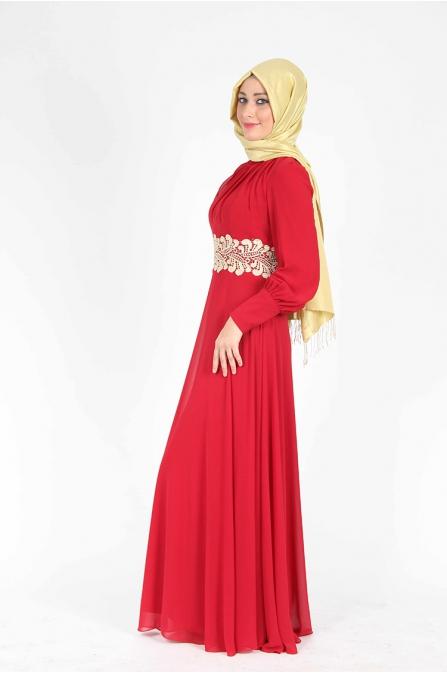 Belden Fistolu Kırmızı Elbise
