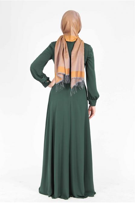 Fiyonklu Düz Yeşil Elbise