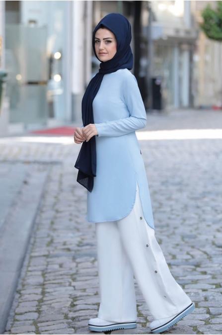 Mavi Tunik Pantolon Takım - Merve Bozkurt
