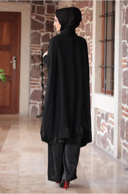 Tunik Pantolon Takım - Siyah - Merve Bozkurt
