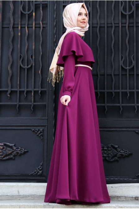 Pelerinli Mürdüm Elbise - Mevra