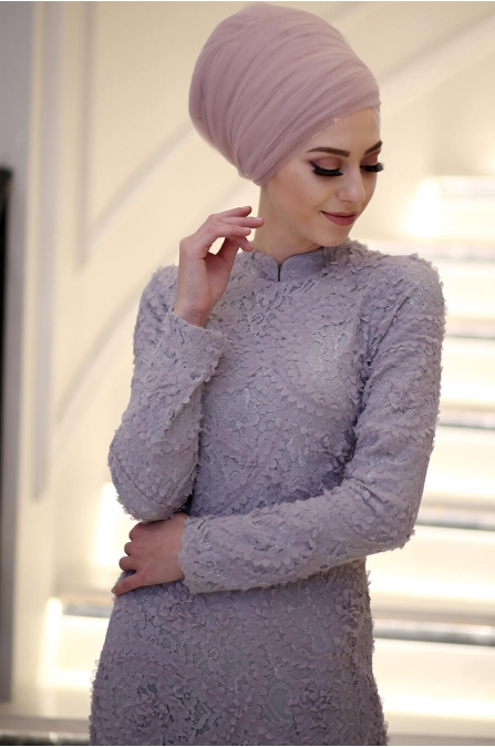 Minel Aşk - Gri Tesettür Abiye - 5051