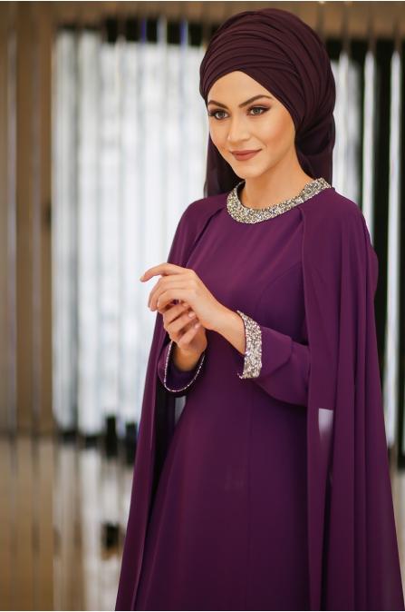 Minel Aşk - Mürdüm Tesettür Abiye - 5223