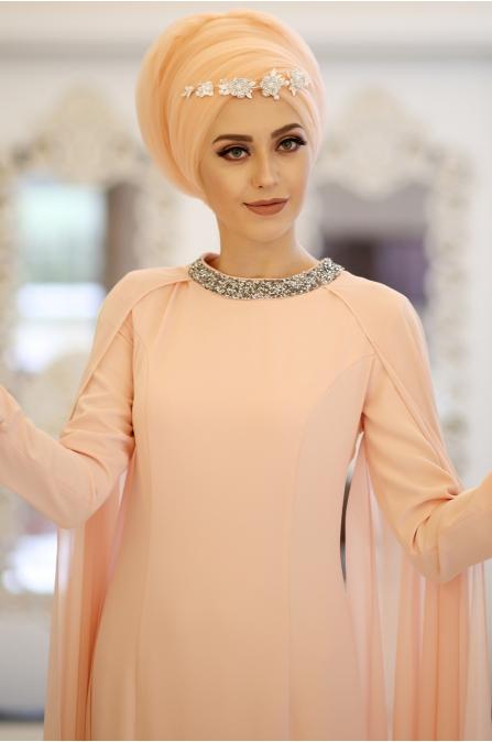 Minel Aşk - Somon Tesettür Abiye - 5223