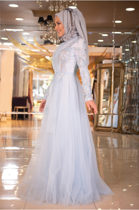 Minel Aşk - Mavi Tesettür Abiye - 5276