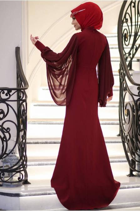 Minel Aşk - Kırmızı Tesettür Abiye - 5277