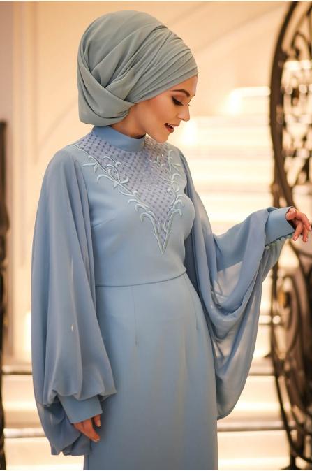 Minel Aşk - Mavi Tesettür Abiye - 5277