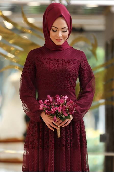 Minel Aşk - Mürdüm Tesettür Abiye - 5296
