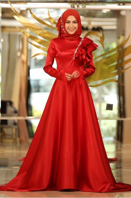 5314 Kırmızı Abiye - Minel Aşk