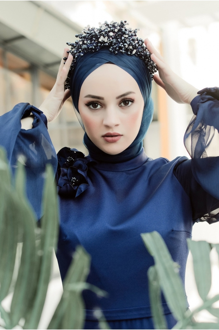 Şifon Kollu Tesettür Abiye Elbise - Lacivert