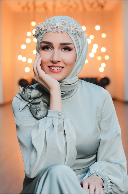 Şifon Kollu Tesettür Abiye Elbise - Mint