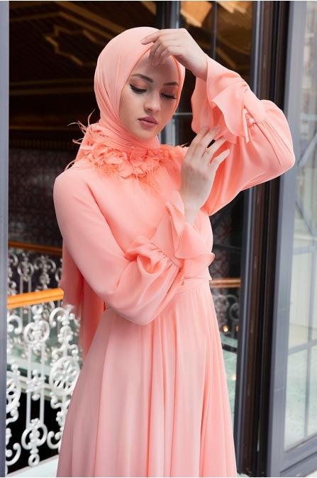 Yaka Detaylı Elbise - Nar Çiçeği - Minel Aşk