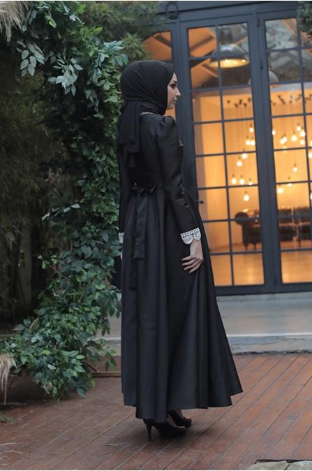 Tafta Tesettür Elbise - Siyah
